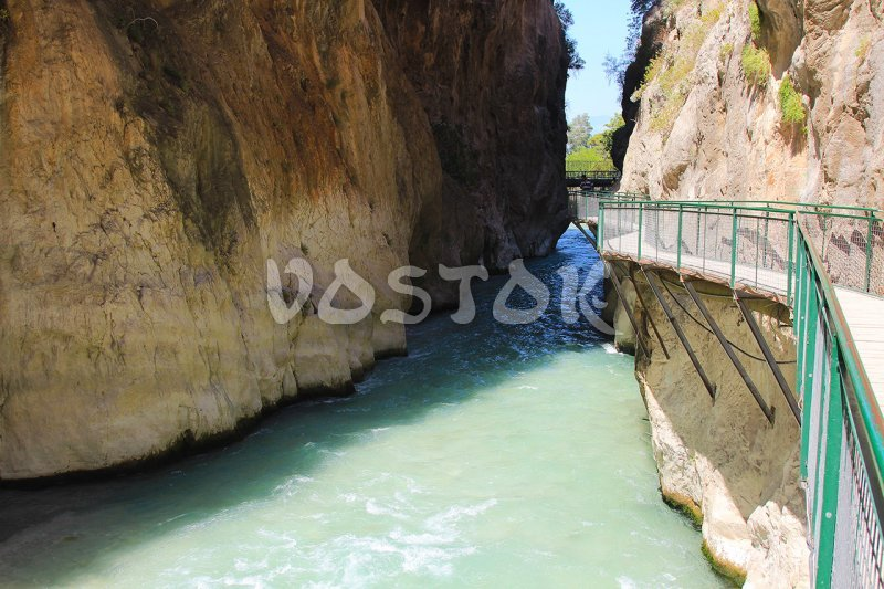The bridge over the river in Saklikent Gorge is about 100 meters long