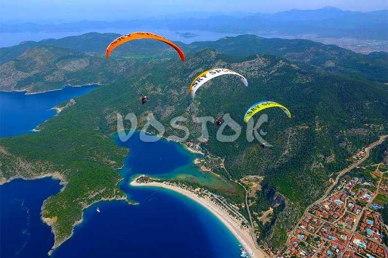 Paragliding parade over Oludeniz beach