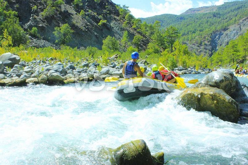 Green pine forests and crystal clear water of Dalaman river