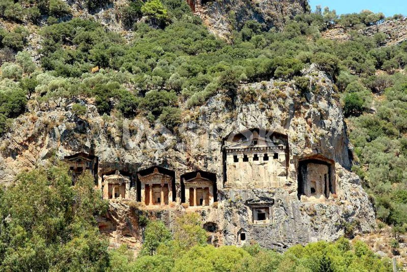 Lycian tombs in Dalyan Turkey