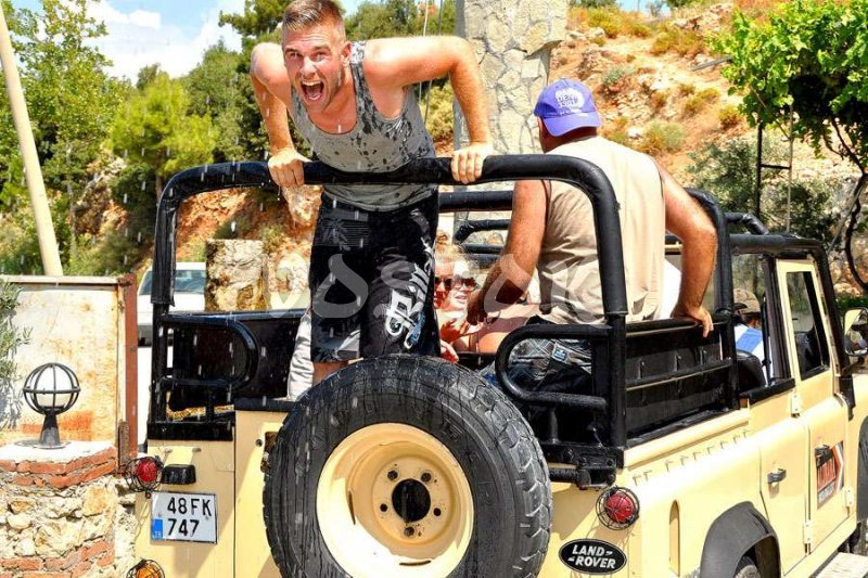 Cold water makes people for excited during the jeep safari Fethiye