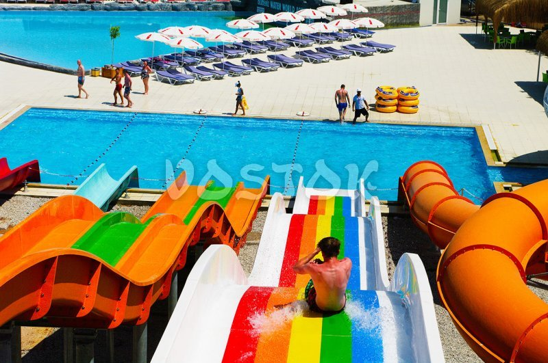 View on swimming pool from the top of slides in Oludeniz Water World Aquapark