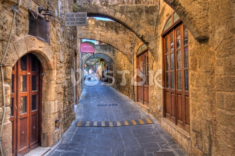 Narrow streets of Rhodes old town