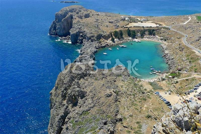 St. Paul's Bay in Lindos city at Rhodes Island