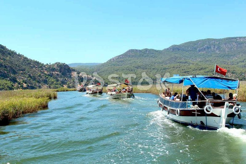 On a boat along the Dalyan River