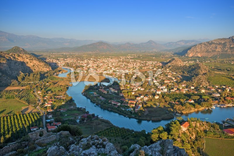 Aerial photo of town of Dalyan and channel