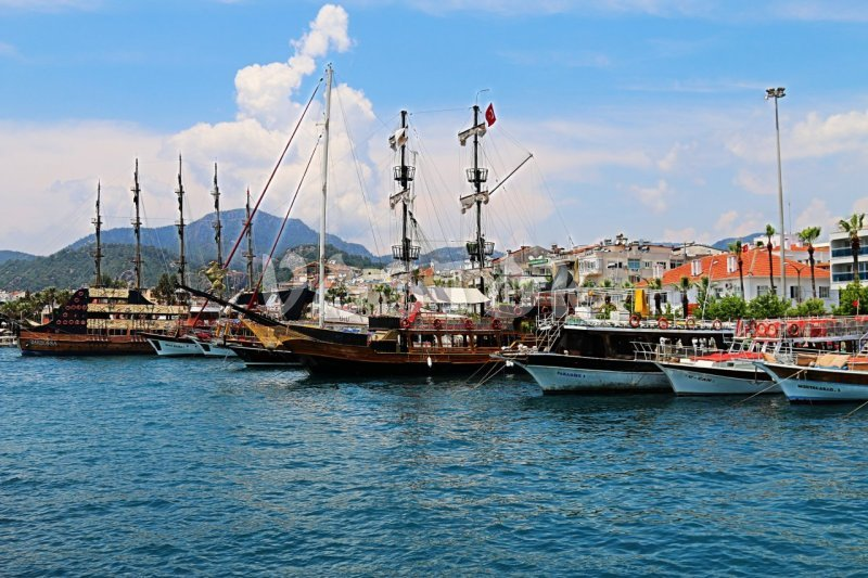 Leisure boats moored in Marmaris harbor