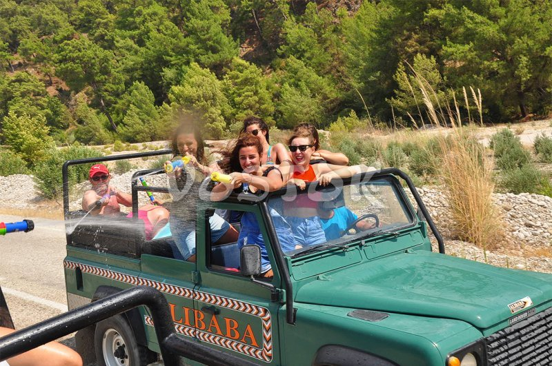 Water fights is essential part of our Jeep Safari to Patara and Saklikent