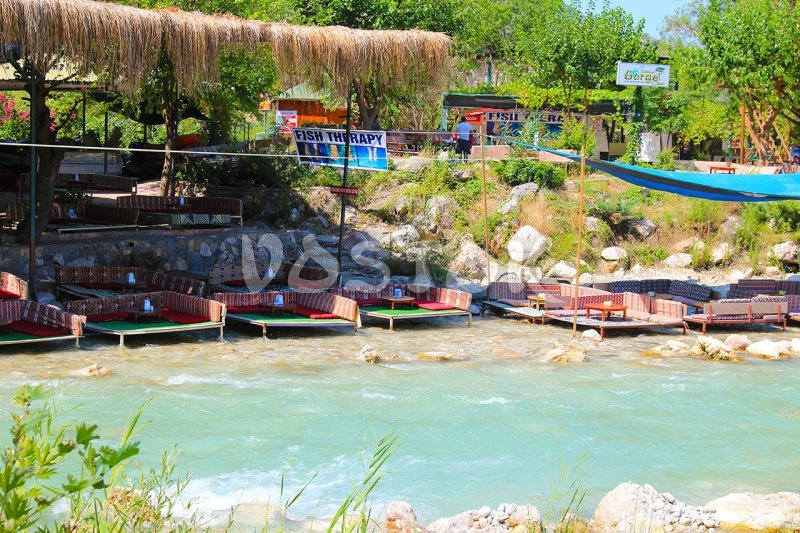 Turkish style cafe on the bank of the river - Saklikent Tlos Yakapark Tour