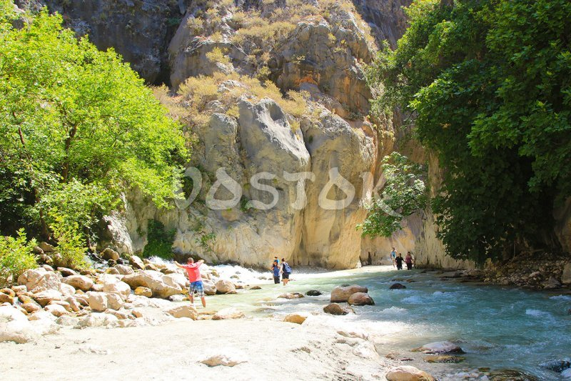 The river in Saklikent Gorge is not deep but pretty cold and fast - Saklikent Tour