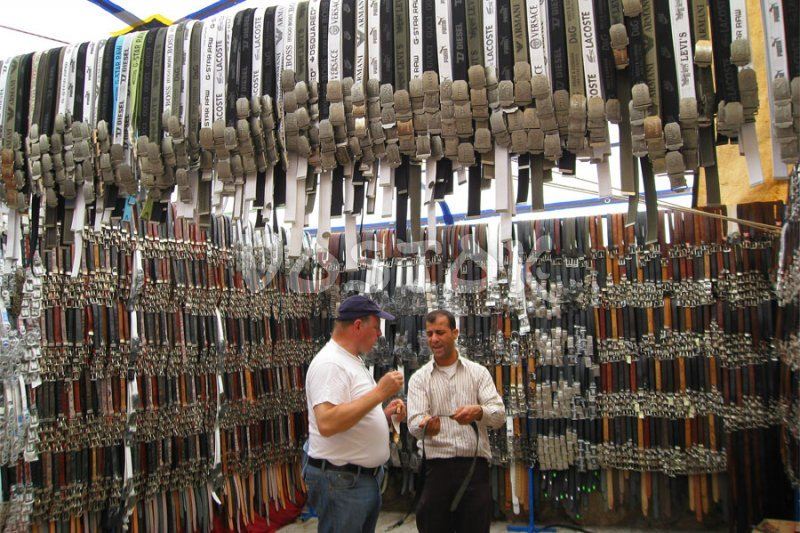 Belts seller at Fethiye Tuesday market