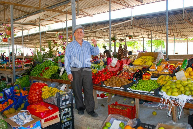 Great variety of fresh fruits and vegetables at Gocek market