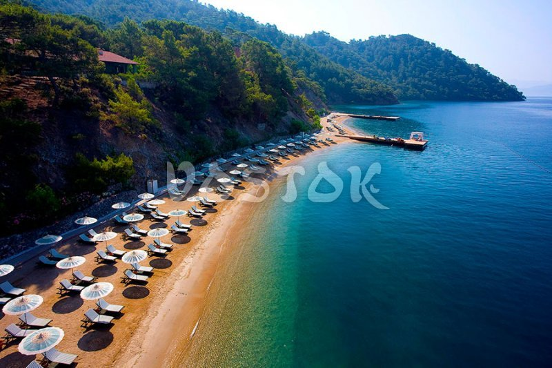D-Marine sandy beach in Gocek Turkey
