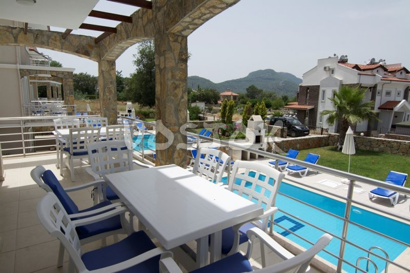 View to the pool from terrace - Mountain View Villa in Ovacik