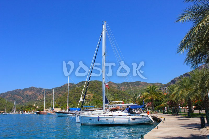 Sailing yacht at Gocek marina