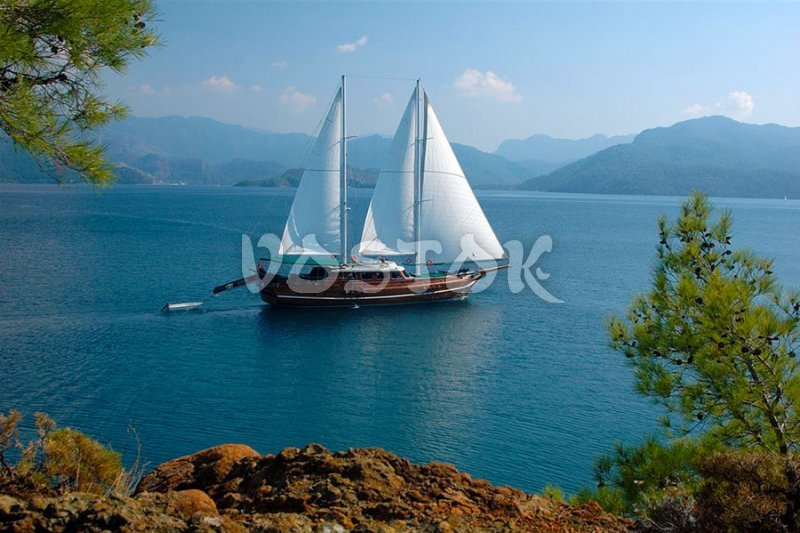 Sailing gullet near Gocek Turkey - Views during Gocek Sunday Market Boat Trip