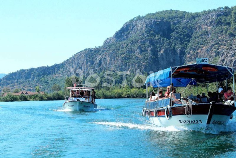 Dalyan boats on Dalyan River - Dalyan Mud Bath Tour