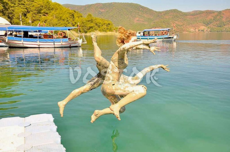 Jump to Dalyan River after the mud bath - Dalyan Mud Bath Tour