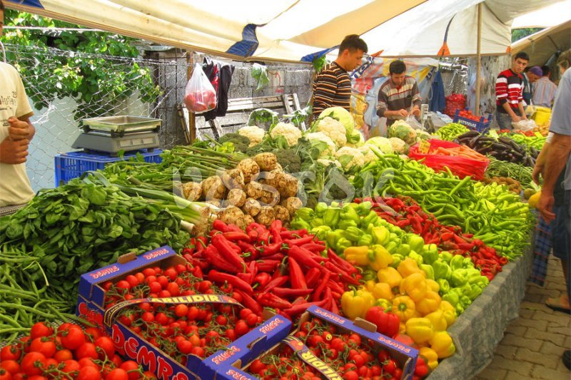 Great variety of vegetables and fruits of perfect quality at Tuesday Fethiye market