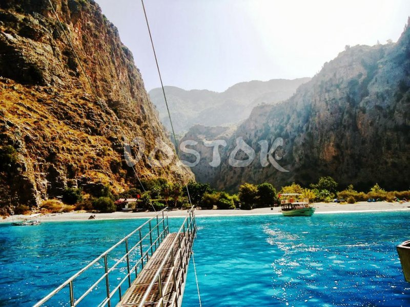 Approaching Butterfly Valley on our Oludeniz boat trip