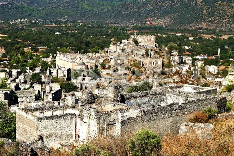 Abandoned Greek houses in Kayakoy - Camel Trekking Tours