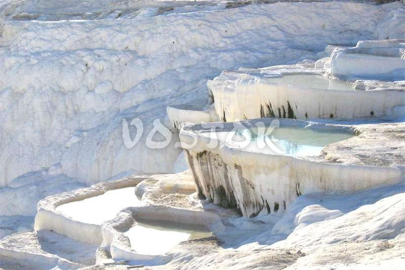 Mountain covered with deposits of calcium in Pamukkale