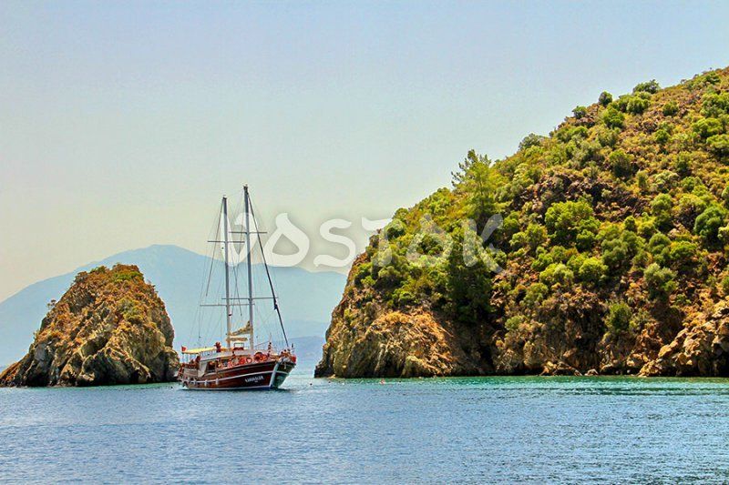 Turkish gullet is on 12 island boat trip from Fethiye harbour