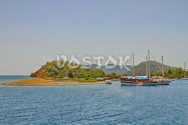 View to Yassica Island from the boat - 12 islands Turkey