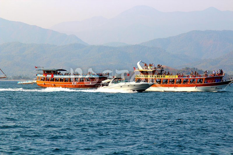 Boats are coming back to Fethiye harbor from 12 Island Boat Trip