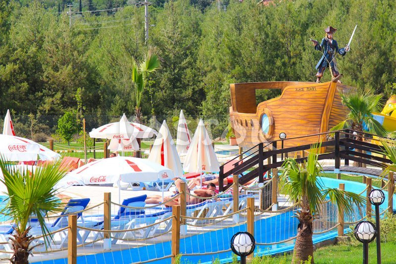 View on the main terrace and Pirate Ship - aquapark Fethiye