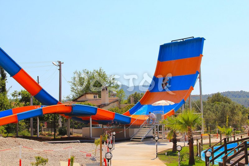 View on the Boomerang slide - water world Fethiye