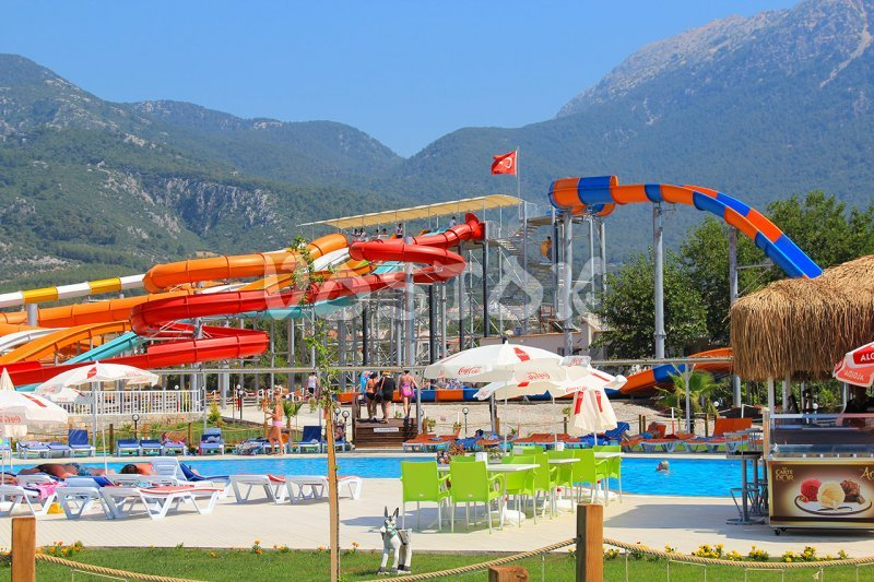 View on slides and main terrace - Fethiye aquapark