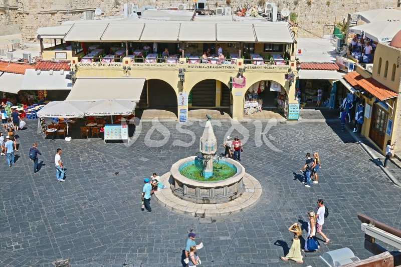Fountain on the main square of Rhodes Old Town