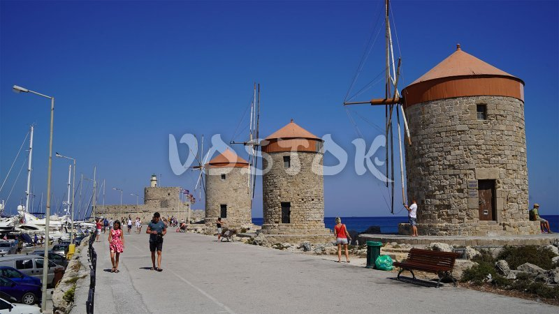 Three windmills in port - Day Trip to Rhodes from Fethiye
