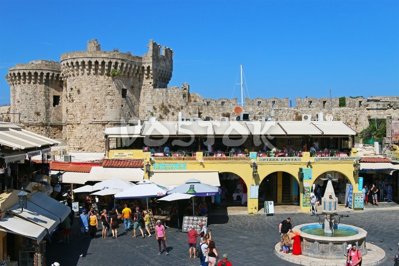Old town square with fountain - Fethiye to Rhodes day trip
