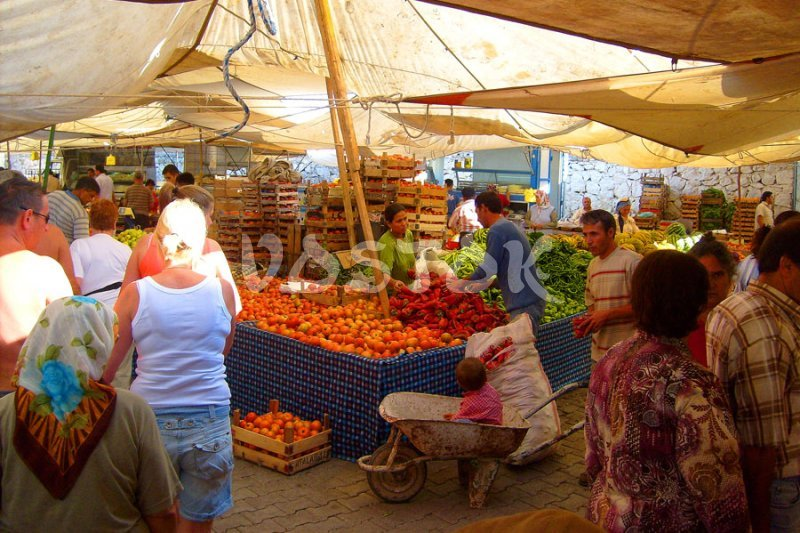 Fresh vegetables and fruits at Tuesday market in Fethiye