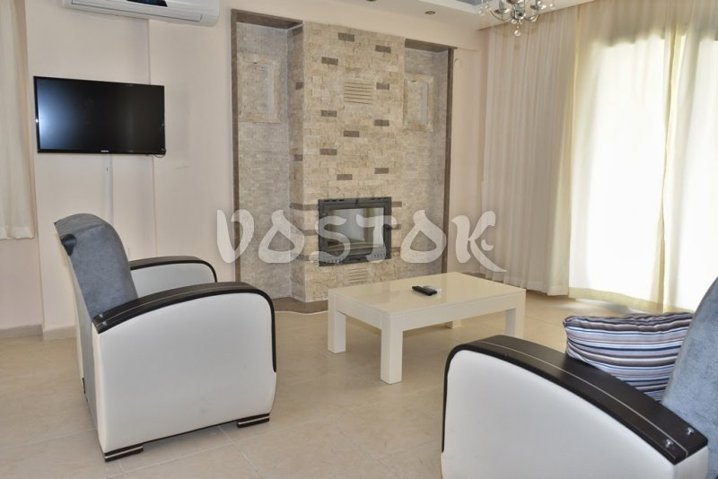 Fireplace in living room - Talia Villa in Calis Turkey