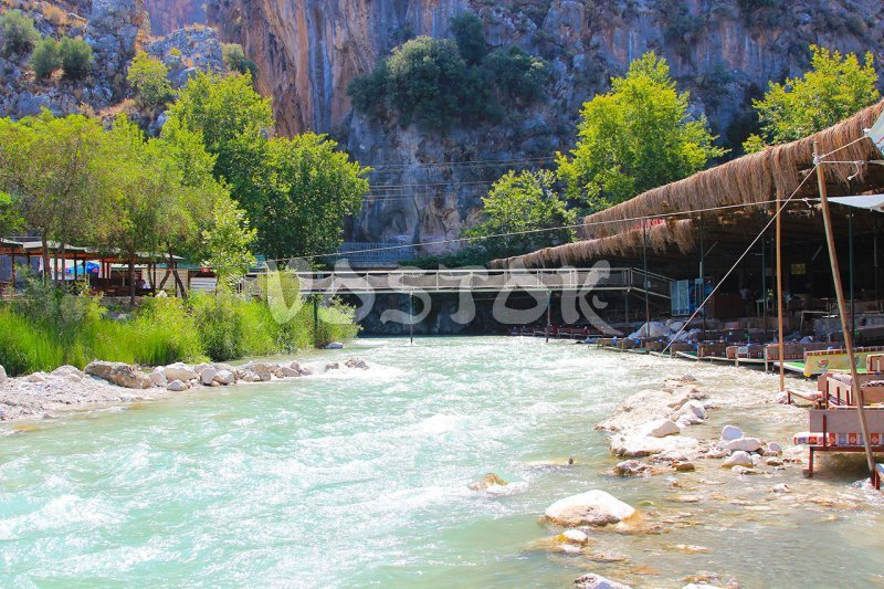 River with cafe by the water in Saklikent canyon