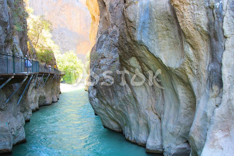 Water in Saklikent canyon is clear has blue color