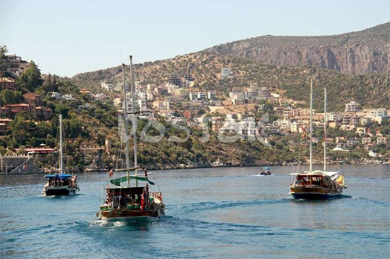 Approaching Kas city by boat