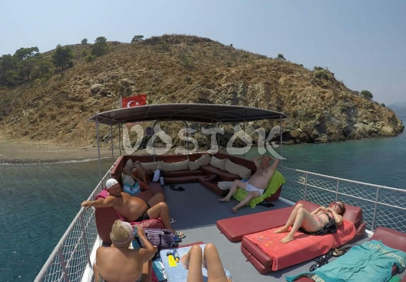 Upper deck of Angel Boat - private boat Hire from Fethiye harbor