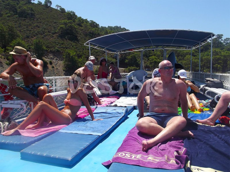 Upper deck of Angel Boat - Private Boat Hire Fethiye