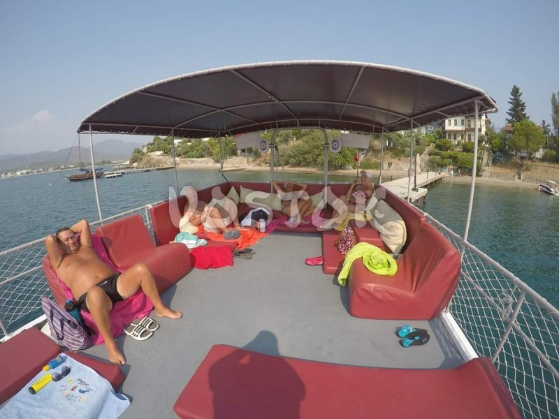 Large sundeck at Angel Boat - Fethiye harbor private boat hire