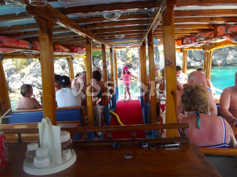 Lower deck of Angel boat - Private Boat Hire Fethiye