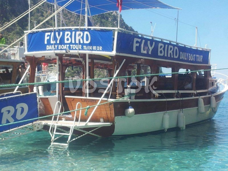 Fly Bird private boat is available to hire from Oludeniz beach and may accommodate up to 20 people