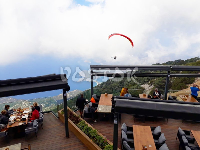 Absolutely amazing feeling to have dinner in the clouds watching paragliders - Babadag Mountain Restaurant Turkey