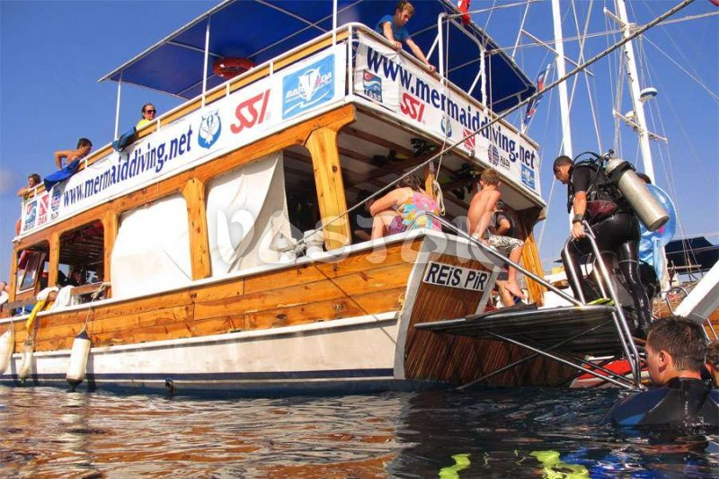 Special boat is fully equipped for scuba diving in Fethiye