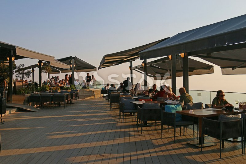 Wide open air terrace at the Babadag mountain restaurant