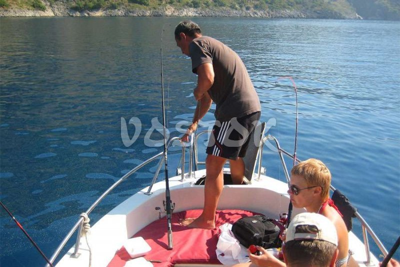 The fishing is possible straight from the speed boat near Oludeniz