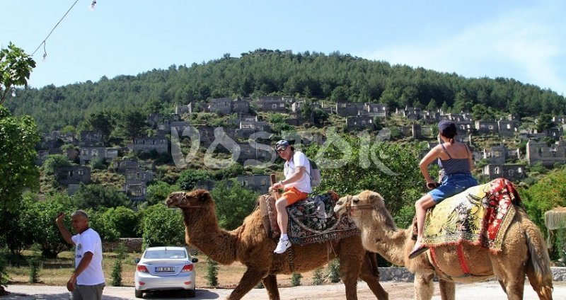 Camel rides in Turkey in Kayakoy ghost village